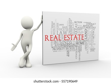 3d illustration of man standing with real estate wordcloud word tags. 3d human person character and white people