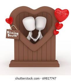 3D Illustration of a Man and Woman in a Kissing Booth