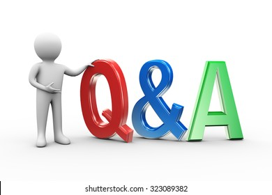 3d illustration of man with word text q&a. 3d human person character and white people