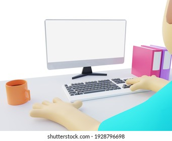 3d illustration of man working on pc with blank monitor