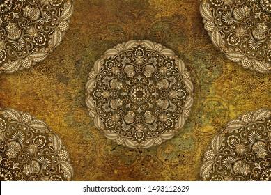 3d illustration of mandala design on golden and green textured background