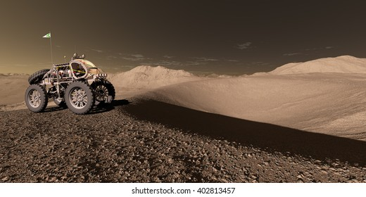 3D Illustration - Manned Martian ATV approaches crater basin