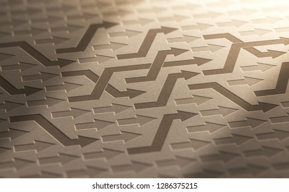 3D illustration of many arrows changing way on kraft paper. Structural Reorganization Background.