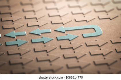 3D illustration of many arrows symbols pointing in the same direction and one arrow going back. Concept of regression.