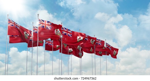3D Illustration with many flags of Bermuda in rows waving in the wind against blue sky