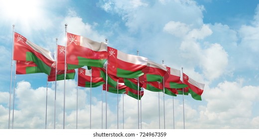 3D Illustration of many flags of Oman in rows waving in the wind against blue sky