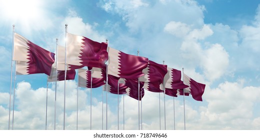 3d Illustration of many flags of Qatar in rows waving in the wind against blue sky