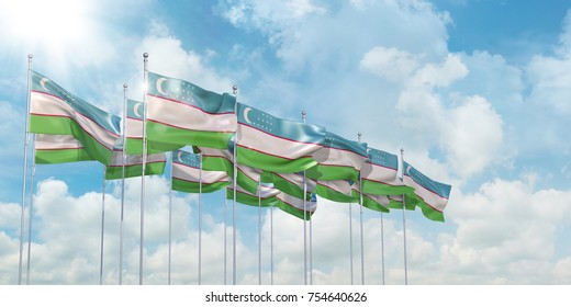 3D illustration of many flags of Uzbekistan in rows waving in the wind against blue sky