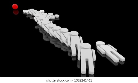 3D illustration of many human figures in white on a black reflective surface. People lie, amazed, defeated, flat on his back. 3D rendering, the idea of collective collapse, defeat.