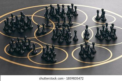 3D illustration of many pawns grouped together into golden circles over black background. Market segmentation concept.