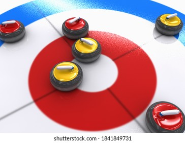 3D illustration of many red and yellow curling stones on ice. 3D illustration.