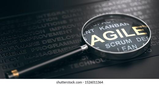 3D-Illustration vieler Wörter auf schwarzem Hintergrund und einer Lupe mit Fokus auf das Wort agil.