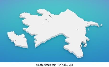 3D illustration map of Azerbaijan