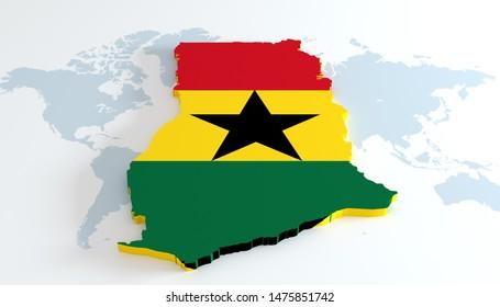 3D illustration map of Ghana