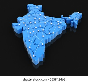 3D Illustration. Map of India with flight paths. Image with clipping path.