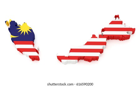 3D Illustration Map of Malaysia