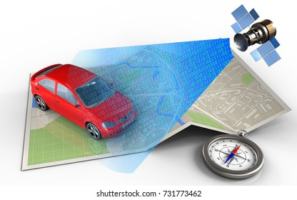3d illustration of map paper with car and satellite digital signal