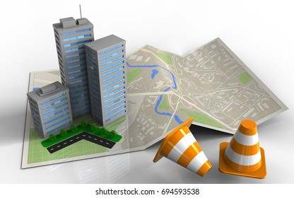 3d illustration of map paper with city buildings and repair cones
