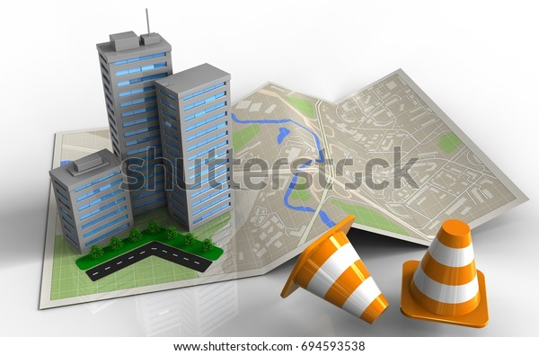 3d Illustration Map Paper City Buildings Stock Illustration
