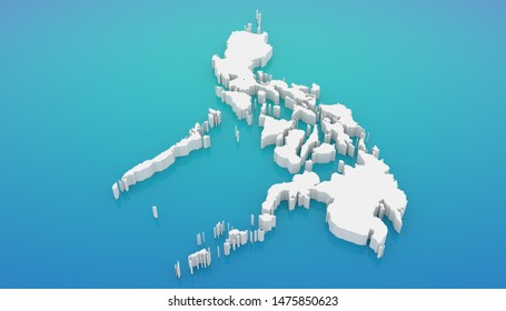 3D illustration map of Philippines