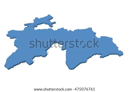 3 D Illustration Map Tajikistan On Plain Stockillustration 475076761 D Map on