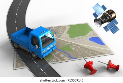 3d illustration of map with truck and red pins