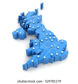3D Illustration. Map of UK with flight paths. Image with clipping path.