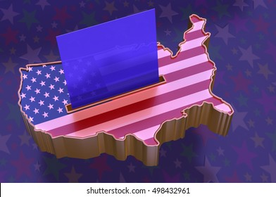 3D Illustration: Map of USA with flag superimposed, with blue ballot paper in slot representing Republican party