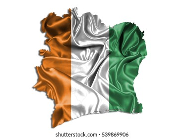 3D illustration map-ivory Coast country on white background.