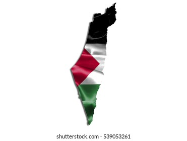 3D illustration map-palestine country on white background.