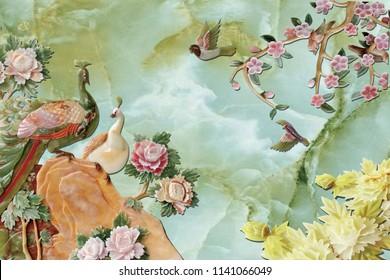 3d illustration, marble background, ceramic birds, drawn fabulous flowers