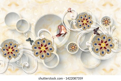 3d illustration, marble background, translucent rings, white ornament, dark golden fairy flowers with blue and red crystals, colorful butterflies