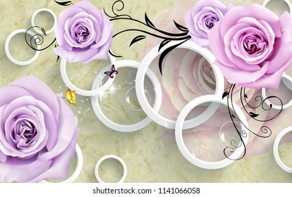 3d illustration, marble background, white rings, purple roses