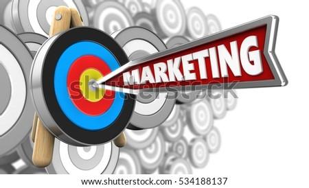 3 D Illustration Marketing Arrow Target Stand Stock