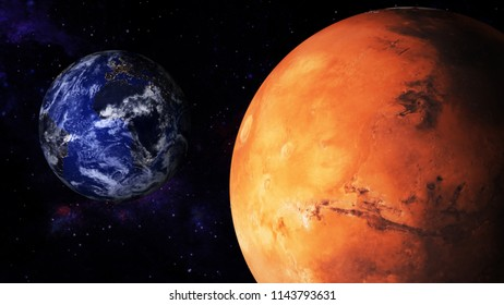 3D illustration of Mars and Earth in the space