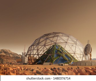 3D Illustration of a Mars outpost colony with a geodesic dome housing a vertical garden pyramid, for space exploration, terraforming and colonization, or science fiction backgrounds.