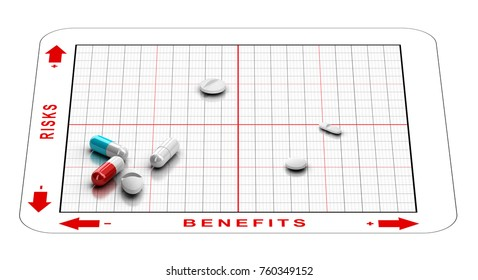 3D illustration of a matrix with tablets and the words risks and benefits. Concept of clinical trials results