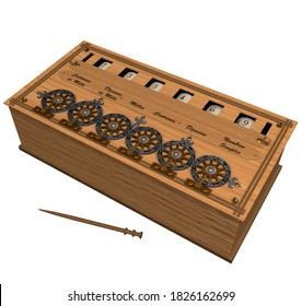 3D illustration of a Mechanical Calculating Device, designed and created by the famous French Mathematician and Inventor Blaise Pascal in the mid XVII Century, named Pascaline in honor of its creator.