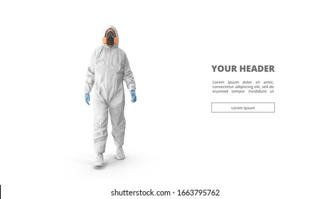 3d illustration. Medic in white hazmat protective suits. Chinese new Wuhan coronavirus illustration. Biological hazard. Epidemic of coronavirus. 3d model. man. doctor. figure. web design. banner.