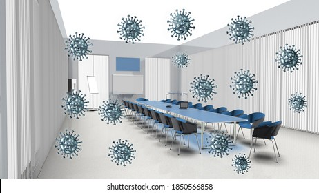 3D Illustration Meeting room office with corona virus concept