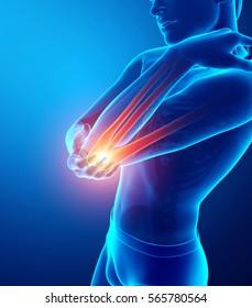 3d Illustration of Men Feeling Elbow pain