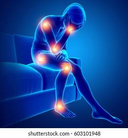 3d Illustration of men joint pain