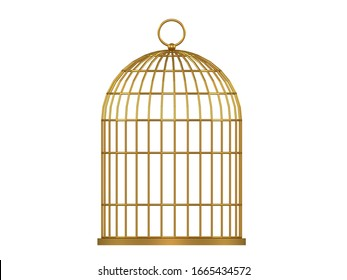 3d illustration. Metal birdcage isolated on white background.