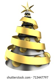 3d illustration of metal Christmas tree over white background with big golden balls