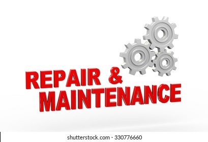 3d illustration of metal chrome gears cog wheel and word text repair maintenance