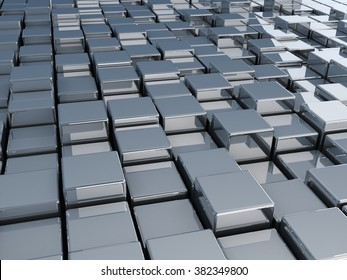 3d illustration of metal cubes. Abstract background