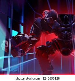3d illustration of a metal mechanic robot warrior with pilot seat and claw closeup view standing on neon city background.