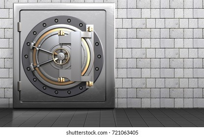 3d illustration of metal safe with bank door over white stones background