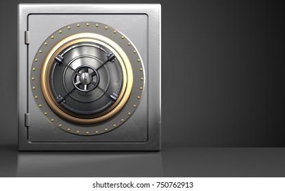 3d illustration of metal safe with closed bank door over black background