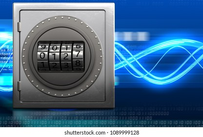 3d illustration of metal safe with code dial over digital waves background